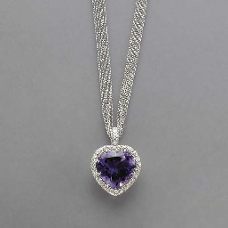 AN AMETHYST, DIAMOND AND 18K W