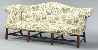 A CHIPPENDALE UPHOLSTERED MAHO
