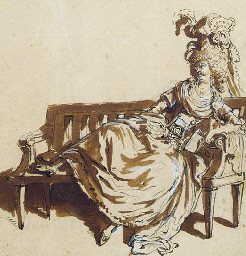 A Lady reclining on a bench; a