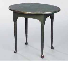 A GREEN-PAINTED TAVERN TABLE