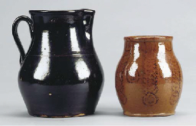 A GROUP OF EARTHENWARE KITCHEN