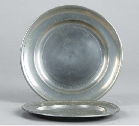 TWO AMERICAN PEWTER PLATES,