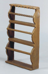 A MAPLE SPOON RACK; A PAINTED
