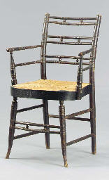 TWO BLACK PAINTED FANCY CHAIRS