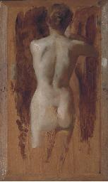 Pan serenading a reclining nud