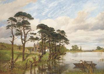 A fisherman in a lake landscap