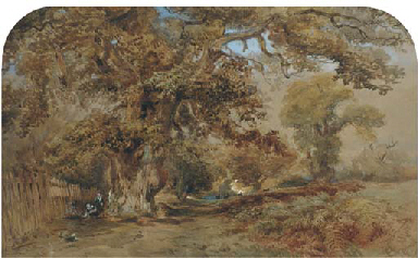 Figures by a path in a wooded