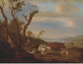 Cattle, sheep and goats with a