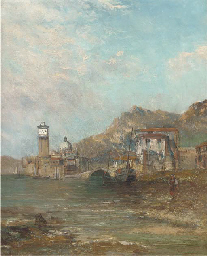 Figure and boats at a harbour