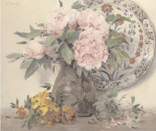 Peonies in a vase with an orna