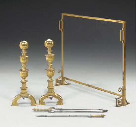 A GROUP OF BRASS FIREPLACE EQU