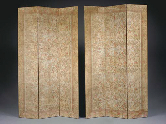 A PAIR OF FABRIC-COVERED THREE