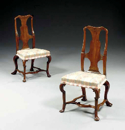 A PAIR OF QUEEN ANNE WALNUT AN