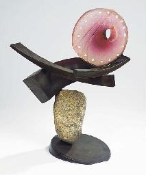 A bronze, glass and stone scul