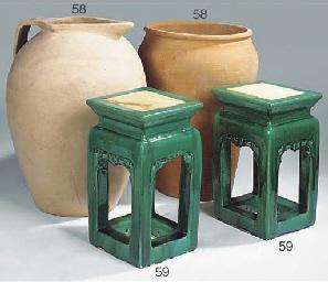 A pair of Oriental glazed eart
