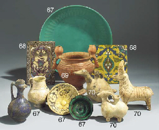 A group of Persian pottery ves