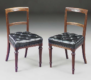 A set of eight mahogany and bl