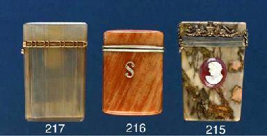A gold-mounted agate case