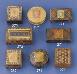 A Tartanware stamp box