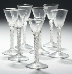 Seven opaque-twist wine-glasse