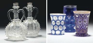 Three Bohemian beakers and two