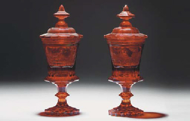 A pair of Bohemian ruby goblet