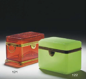 A French green opaque gilt-met