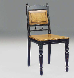 AN EBONISED BEECH SIDE CHAIR