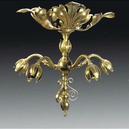 A Brass Five Branch Light Fitt