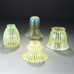 Twelve Various Vaseline Glass