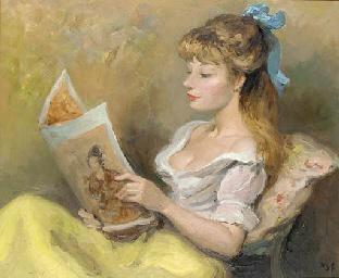 Claudine lisant un magazine