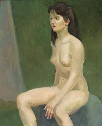 Seated female nude on blue sea