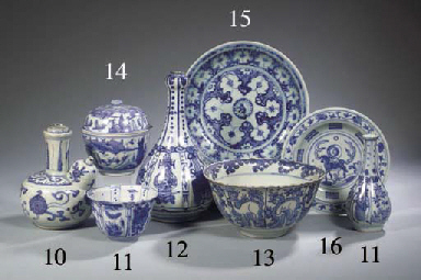 Three late Ming blue and white
