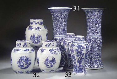 A pair of blue and white beake