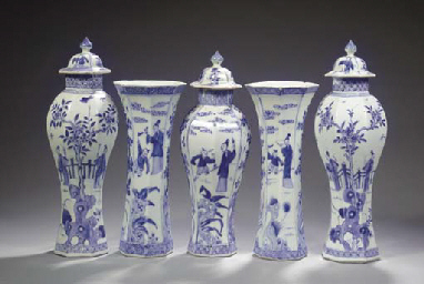 A blue and white matched five-