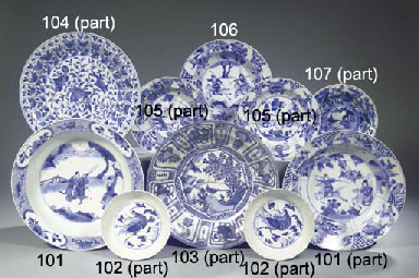 Two blue and white dishes