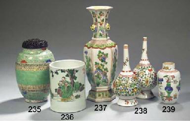 Four famille verte vases