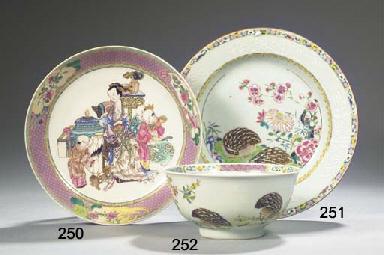 A famille rose 'quail' bowl