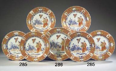 A set of six Imari 'La dame au