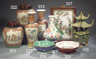 A pair of famille verte jars a