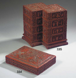A red lacquer rectangular box