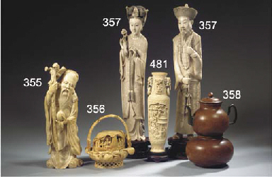 An ivory carving of fruit bask