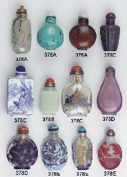 Six glass and porcelain snuff