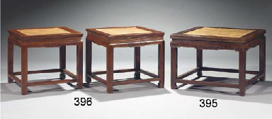 A pair of square lacquered elm