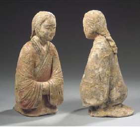 Two painted grey pottery figur