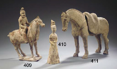 A grey pottery figure of a hor