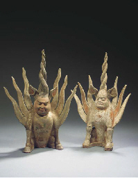 Two painted red pottery figure