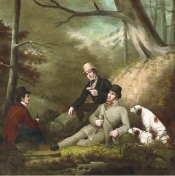 Sportsmen taking lunch by a st