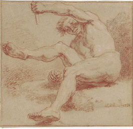 A reclining male nude holding