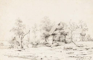 A cottage in a landscape
